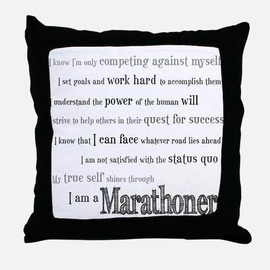 I Am a Marathoner Throw Pillow