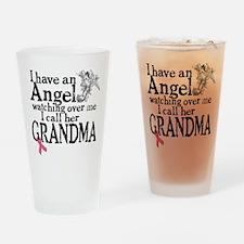 Breast Cancer Grandma Angel Drinking Glass