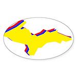 Retro U.P. Rainbow Yooper Sticker (Oval 10 pk)