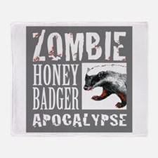 Zombie Honey Badger Throw Blanket