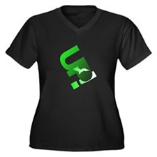 U.P. Yooper Women's Plus Size V-Neck Dark T-Shirt