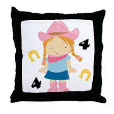 4th Birthday Cowgirl Throw Pillow