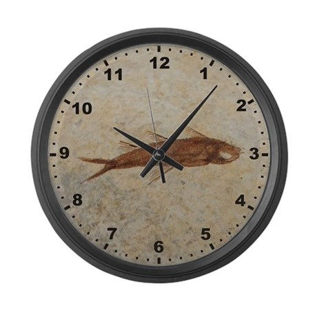 Fossil fish large wall clock by evolutionarymugs for Fish wall clock