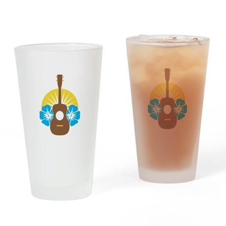 Ukulele Hibiscus Drinking Glass