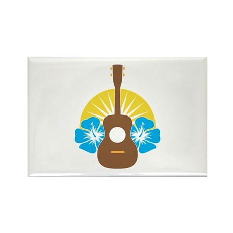 Ukulele Hibiscus Rectangle Magnet (10 pack)