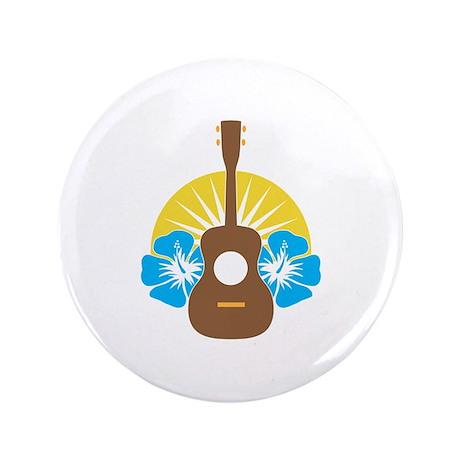 """Ukulele Hibiscus 3.5"""" Button"""