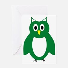 Green And White Owl Design Greeting Card