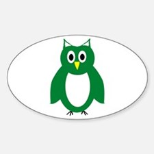 Green And White Owl Design Decal
