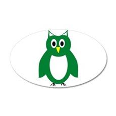 Green And White Owl Design 22x14 Oval Wall Peel