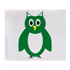 Green And White Owl Design Throw Blanket