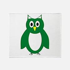 Green And White Owl Design Throw Blanket