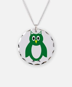 Green And White Owl Design Necklace