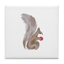 Painted Squirrels (red) Tile Coaster