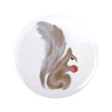 """Painted Squirrels (red) 3.5"""" Button"""