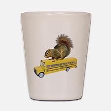 Squirrel on School Bus Shot Glass