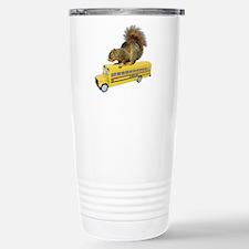 Squirrel on School Bus Stainless Steel Travel Mug