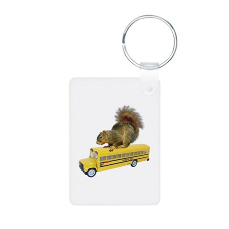Squirrel on School Bus Aluminum Photo Keychain