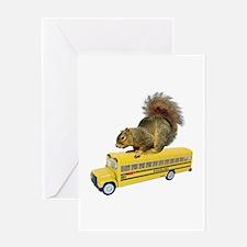 Squirrel on School Bus Greeting Card