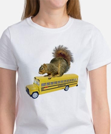 Squirrel on School Bus Women's T-Shirt