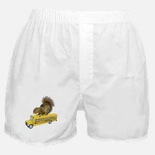 Squirrel on School Bus Boxer Shorts