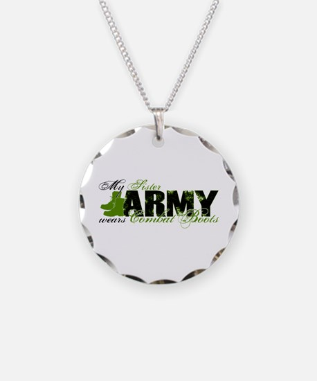 Sister Combat Boots - ARMY Necklace Circle Charm