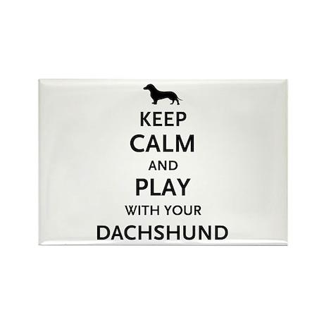 Keep Calm Dachshund Rectangle Magnet (100 pack)