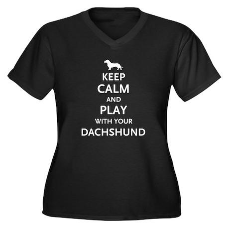 Keep Calm Dachshund Women's Plus Size V-Neck Dark