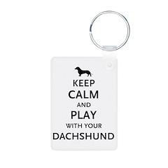 Keep Calm Dachshund Aluminum Photo Keychain