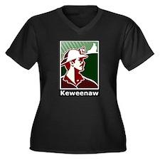 Keweenaw Heritage Women's Plus Size V-Neck Dark T-