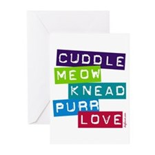 Cuddle Meow Knead Purr Love Greeting Cards (Packag