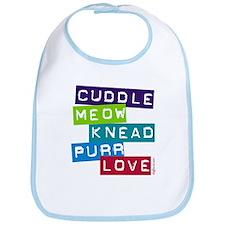 Cuddle Meow Knead Purr Love Bib