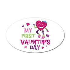 Funky 1st Valentine 22x14 Oval Wall Peel