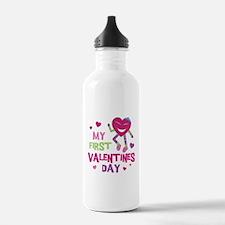 Funky 1st Valentine Water Bottle