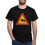 Moose Crossing Road Sign Dark T-Shirt
