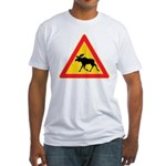 Moose Crossing Road Sign Fitted T-Shirt