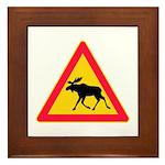 Moose Crossing Road Sign Framed Tile