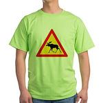 Moose Crossing Road Sign Green T-Shirt