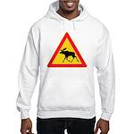 Moose Crossing Road Sign Hooded Sweatshirt