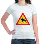 Moose Crossing Road Sign Jr. Ringer T-Shirt