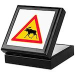 Moose Crossing Road Sign Keepsake Box
