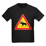 Moose Crossing Road Sign Kids Dark T-Shirt