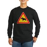 Moose Crossing Road Sign Long Sleeve Dark T-Shirt