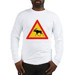 Moose Crossing Road Sign Long Sleeve T-Shirt