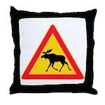 Moose Crossing Road Sign Throw Pillow