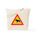 Moose Crossing Road Sign Tote Bag