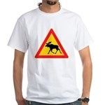 Moose Crossing Road Sign White T-Shirt