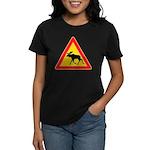 Moose Crossing Road Sign Women's Dark T-Shirt