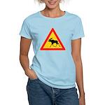 Moose Crossing Road Sign Women's Light T-Shirt