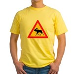 Moose Crossing Road Sign Yellow T-Shirt