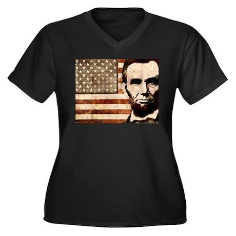 Abraham Lincoln Women's Plus Size V-Neck Dark T-Sh